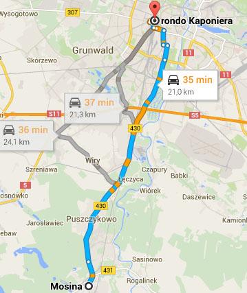 Mapa - dojazd do Poznania z Mosiny i Krosna (różne warianty)