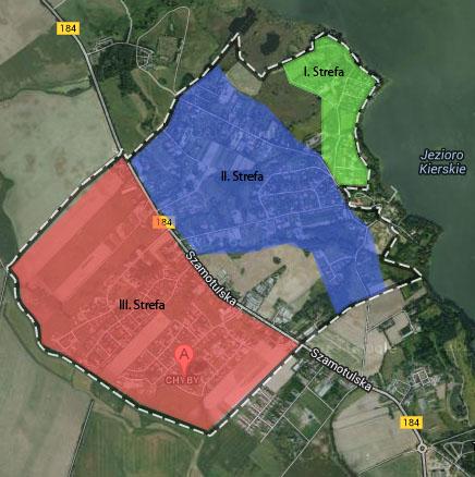 Mapa stref o różnym komforcie mieszkania w Chybach