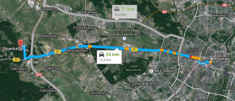 Odległość z osiedla Przylesie w Lusowie do ronda Kaponiera w Poznaniu to tylko 15 km