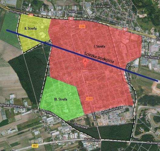 Mapa stref zamieszkania w Przeźmierowie - gmina Tarnowo Podgórne