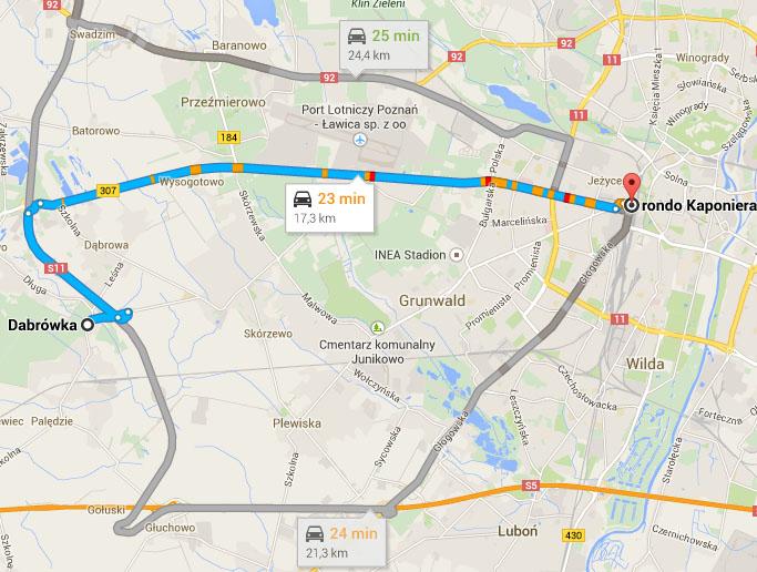 Mapa - dojazd do Poznania z Dąbrówki (różne warianty)