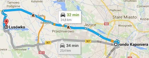 Dojazd z osiedla Zielone Lusówko do centrum Poznania zajmuje około 30 minut
