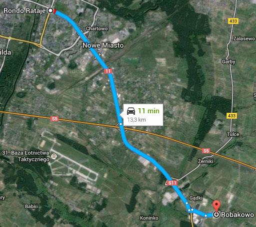 Mapa - czas dojazdu z Robakowa do Poznania