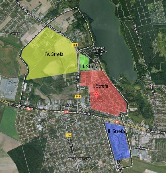 Mapa stref o różnym komforcie mieszkania w Baranowie
