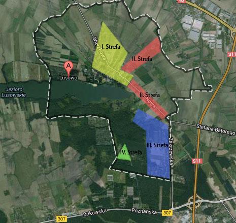 Mapa stref o różnym komforcie mieszkania w Lusowie