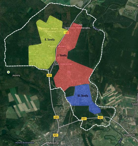 Mapa stref zamieszkania w Puszczykowie