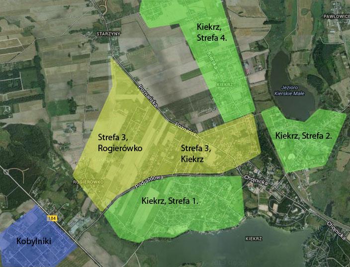 Mapa stref zamieszkania w Kiekrzu (Kiekrz - Poznań, Kiekrz gm. Rokietnica) oraz w Pawłowicach, Rogierówku, Kobylnikach (gm. Rokietnica)