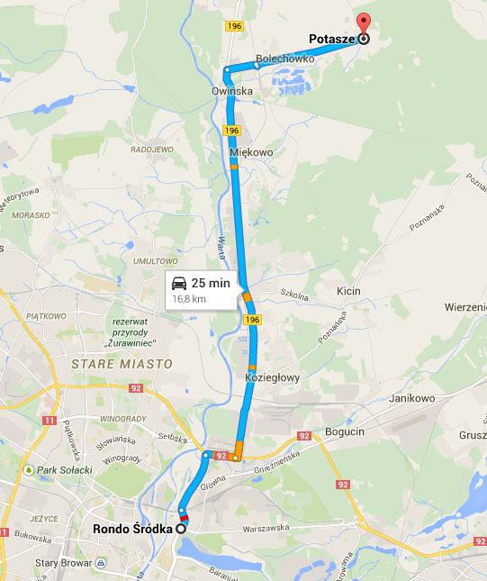 Mapa - dojazd do Poznania ze wsi Potasze (gmina Czerwonak)